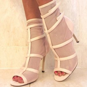 Shoes - New Blush Pink Open Toe Mesh Fishnet Booties